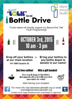 Poster for bottle drive on Oct 3rd.
