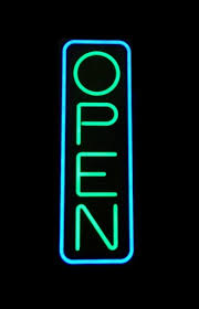 neon blue and green open sign