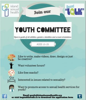 Poster advertising youth committtee members for Island Sexual Health btwn the ages of 15-25?