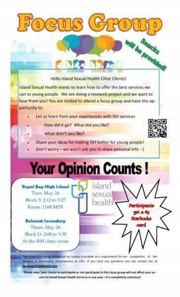 Upcoming Youth Focus Groups at Royal Bay and Belmont High Schools