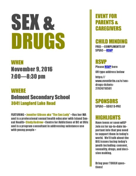 Sex & Drugs – A Chat with Parents Nov 9th 7:00 pm Belmont Secondary