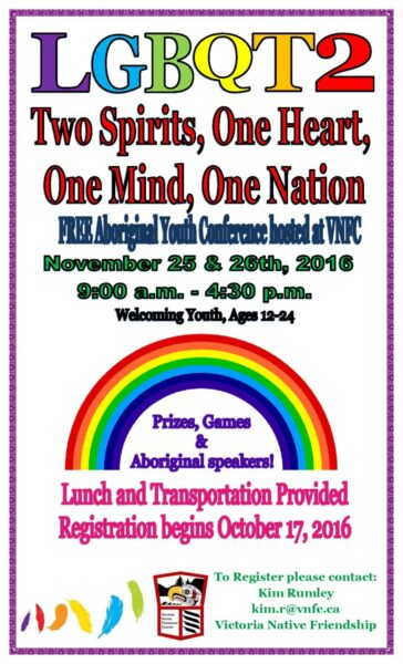 Upcoming LGBQT2 Conference for Aboriginal Youth Nov 25/26