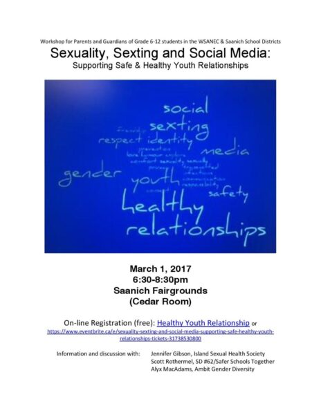 Sexuality, Sexting and Social Media Workshop for Parents and Allies – March 1st
