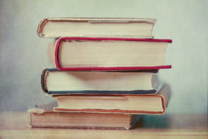 Photo of stack of hardcover books
