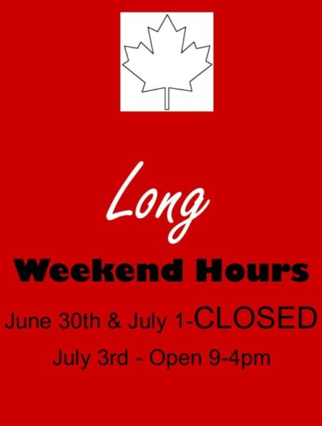 Canada Day 2017 Weekend Hours – Quadra Street