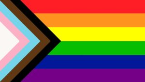 A rainbow Pride flag with trans inclusion and Black Lives Matter colours.