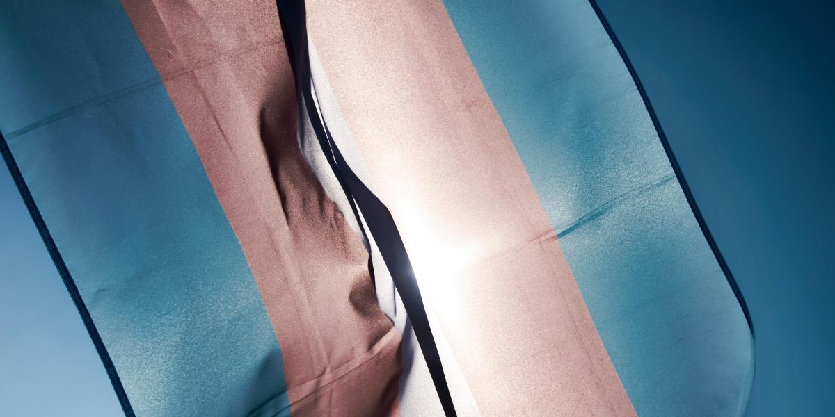 Trans gender pride flag flying against a blue sky